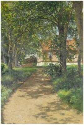 Eftermiddagste - Kvinna I Trädgård by Berndt LINDHOLM