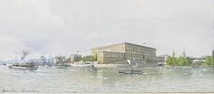 Utsikt Mot Stockholms Slott Med ångbåtar I Förgrunden by Anna PALM DE ROSA