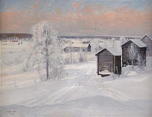Norrländskt Vinterlandskap - Motiv Från Kiruna by Carl BRANDT