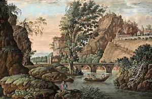 Bergs- Och Flodlandskap Med Fortifikation, Fästningstorn, Bro Och Staffage by Louis BELANGER