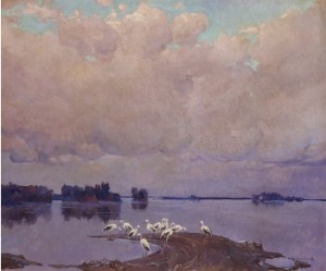 Storks By The Lake by Stepan Fedorovich KOLESNIKOFF