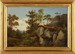 Skogsmotiv Med Jägare by Carl Abraham ROTHSTÉN