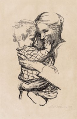 Mother Holding Her Child by Käthe KOLLWITZ