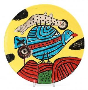 Ceramic Plate, F. Delille, Paris 1998 by Cornelis Guillaum Corneille Van 'Corneille' BEVERLOO