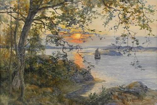 Kustlandskap Med Segelbåt I Solnedgång by Anna GARDELL-ERICSON