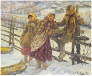 Children With Sledges. Bears Later Signature F Sytchkoff Over The Original Signature by Fedot Vasilievich SYCHKOV