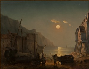 Figure Near A Skiff And Sailboat In A Coastal Village At Sunset by Ivan Konstantinovich AIVAZOVSKY