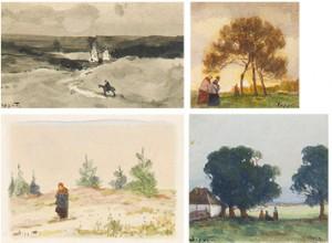 Four Landscape Miniatures by Viktor Ivanovich ZARUBIN
