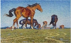 Unghästar I Spridd Flock by Nils KREUGER