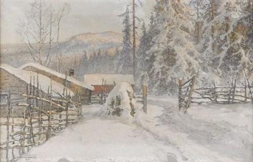 Vinterlandskap Med Gård - Filipstads Bergslag by Anshelm SCHULTZBERG
