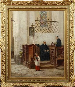 Kyrkointeriör by Frans Wilhelm ODELMARK
