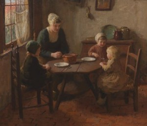 Young Mother And Children In An Interior by Bernard POTHAST