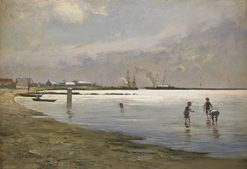 Lekande Pojkar I Vattenbrynet - Motiv Från Trelleborgs Hamn by Hugo SALMSON