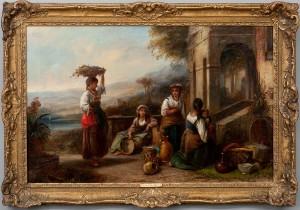 Sydeuropeiskt Motiv Med Kvinnor På Terrass by Thomas Kent PELHAM