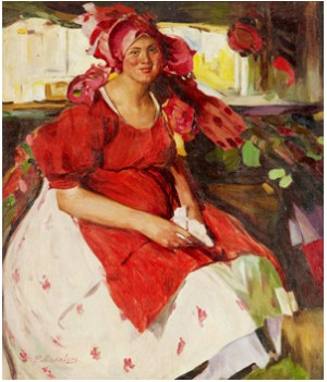 Woman In A Red Dress by Filip Andreevich MALIAVIN