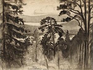 Vidsträckt Skogslandskap Lindingö by Evert TAUBE