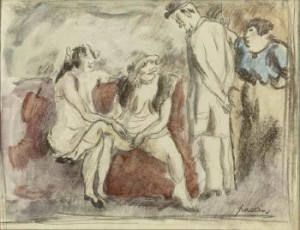 Interieur D'une Maison Close by Jules PASCIN