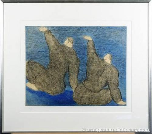 Två Vinkande Figurer by Sandro CHIA