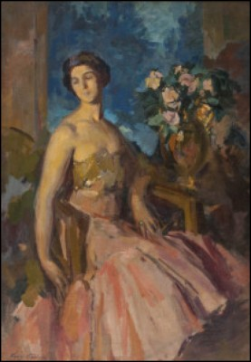 Portrait Of The Artist's Wife, Anna Yakovlevna Korovina by Konstantin Alexeievich KOROVIN