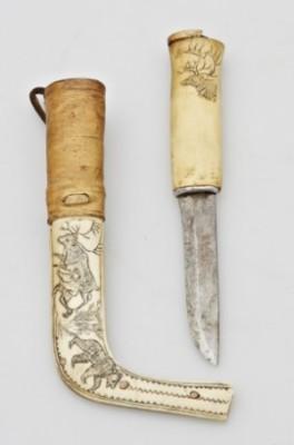 Kniv. Samearbete. Halvhorn by Nils Nilsson (Sami Artist) SKUM