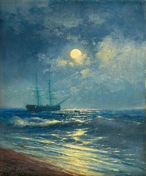 Moonlit Seaview by Ivan Konstantinovich AIVAZOVSKY