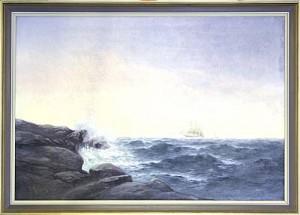 Bränningar Med Ett Segelfartyg I Horisonten by Gérard ANJOU