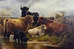 Highland Cattle By The Loch Side by Robert WATSON