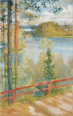 Lake Landskape From Kaukola, Saaris by Albert EDELFELT