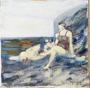 Badande Vid Bastionen by Ivar MORSING