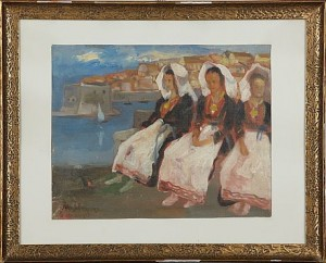 Motiv Från Dubrovnik, Tre Damer by Åke JOHANSSON
