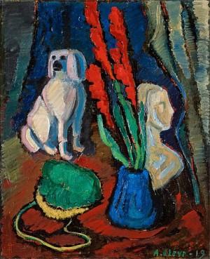 Stilleben Med Porslinshund by Agnes CLEVE