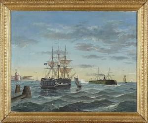 Motiv Med Vaxholms Fästning Med örlogsfartyg Och Kanonbåt by Erland HEURLIN