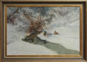 Vinterlandskap Med Gräsänder by Henning HOUGAARD