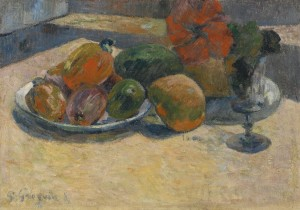 Nature Morte Aux Mangos Et à La Fleur D'hibiscus by Paul GAUGUIN