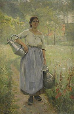 Fransk Bondflicka Med Mjölkspannar by Elisabeth KEYSER