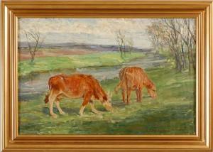 Betande Kor I Landskap by Ida Von SCHULZENHEIM