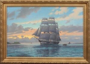 Fregatten Eugenie I öresund, I Bakgrunden Kronborgs Slott by Adolf BOCK