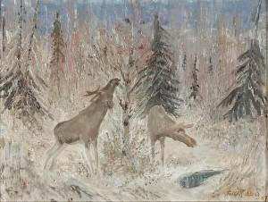 älgar I Skogslandskap by Folke RICKLUND
