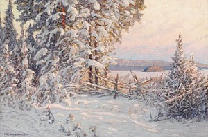Vinterafton Vid Sjön Runn, Dalarne by Anshelm SCHULTZBERG