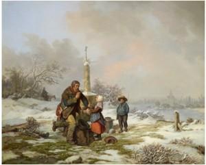 Vinterlandskap Med Vandringsman Och Barn by Per WICKENBERG