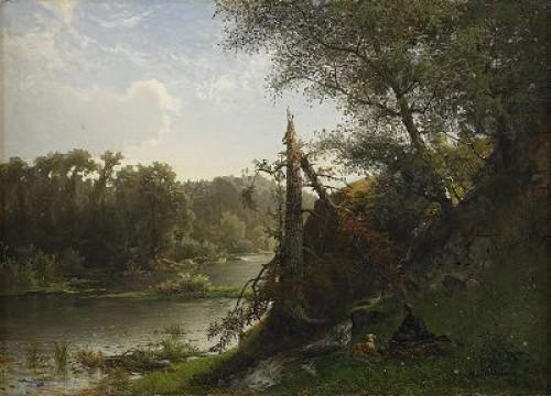 Flodlandskap Med Jägare Och Hund by Alfred WAHLBERG