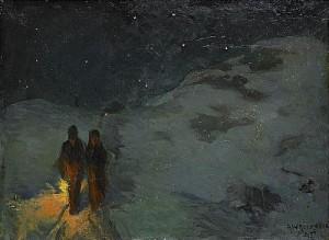 Julnatt - Motiv Från Ladugårdsgärde, Stockholm by Alf WALLANDER
