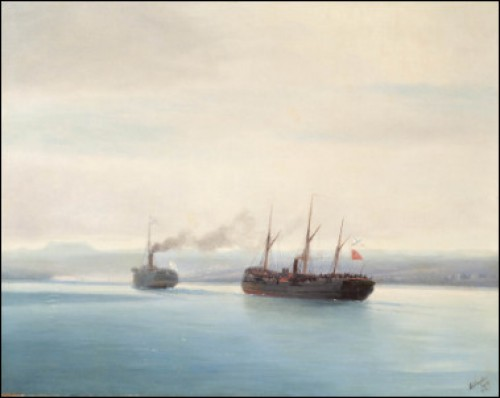 The Turkish Military Ship Mersina In The Black Sea On 13 December 1877 by Ivan Konstantinovich AIVAZOVSKY