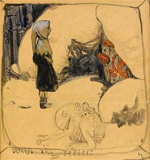Pojke Vid Dörren Till Trollens Grotta by John BAUER