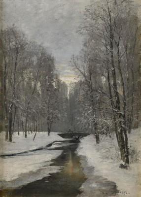 Vinterlandskap Med Bro över Vattendrag - Småland by Olof HERMELIN