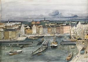Utsikt över Staden Mellan Broarna - Stockholmsbild by Eric HALLSTRÖM