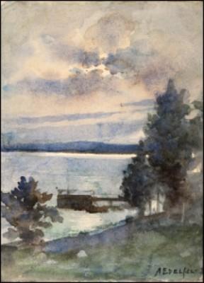 Haikofjärden I Månsken by Albert EDELFELT