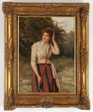 Kvinna Med Redskap I Trädgårdsliknande Miljö by William OLIVER
