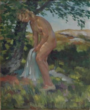 Naken Kvinna I Skuggan Av Ett Träd by Fritz KÄRFVE