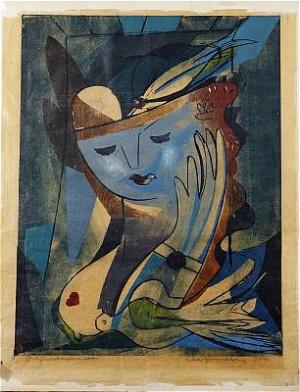 Kvinna Med Duva by Adja YUNKERS